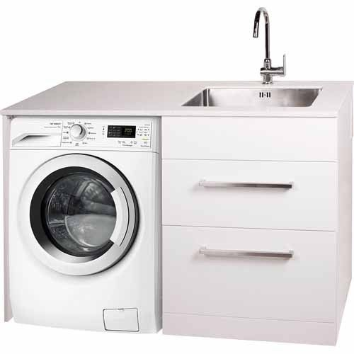 Laundry station w1300 x d600 x h900mm white laundry laundry laundry station right wall mount solutioingenieria Image collections