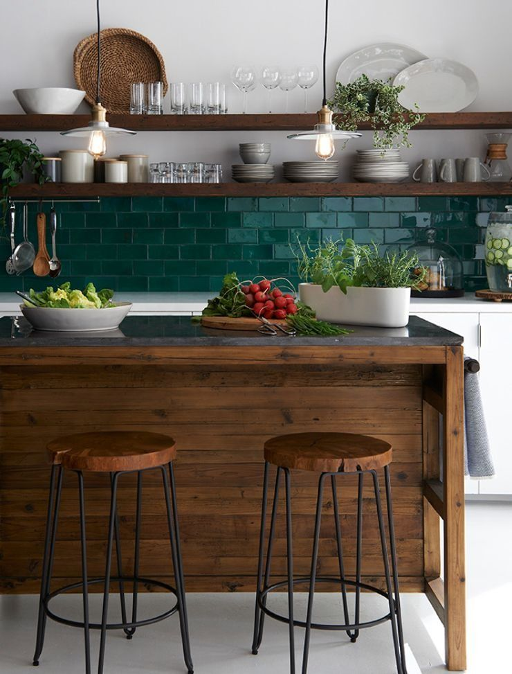 Kuche Kuchenruckwand Farbige Fliesen Dunkles Holz Walnuss