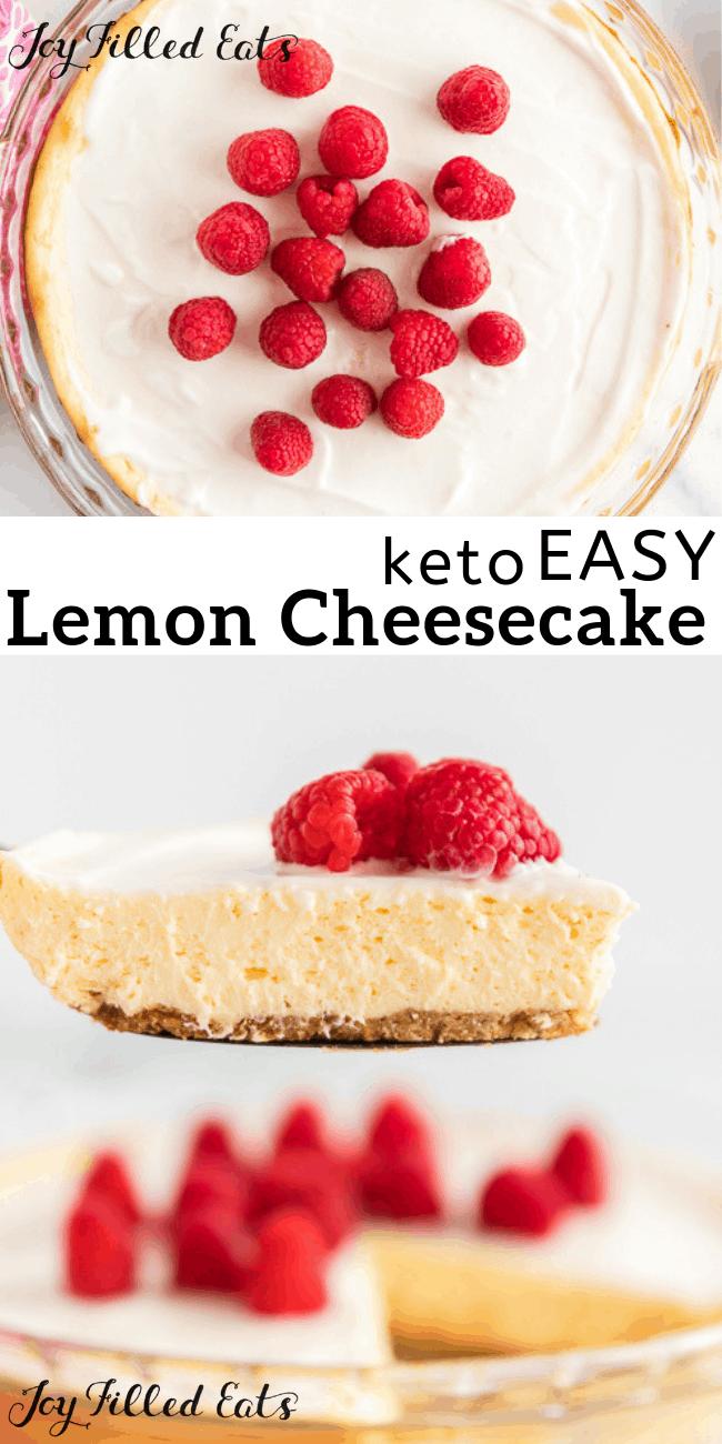 Lemon Cheesecake With Sour Cream Topping Keto Low Carb Sugar Free Gluten Free Grain Easy Lemon Cheesecake Low Carb Recipes Dessert Sour Cream Cheesecake