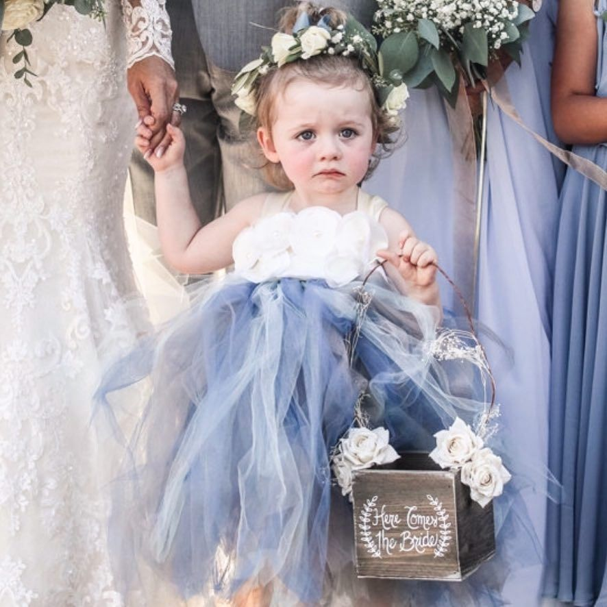 Dusty Blue Wedding Flower Girl Dress Blue Wedding Gowns Flower