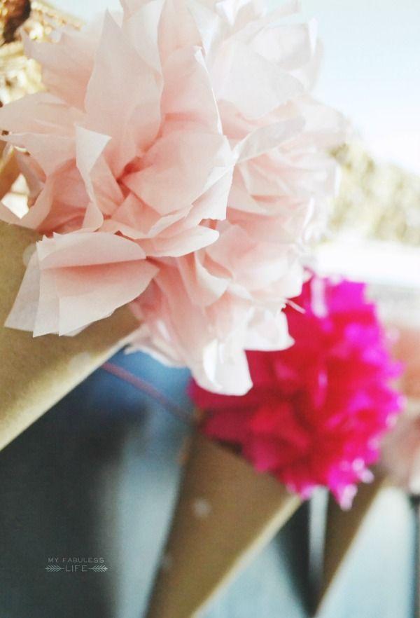 Diy paper cone flower garland pinterest paper cones flower my fabuless life diy paper cone flower garland mightylinksfo