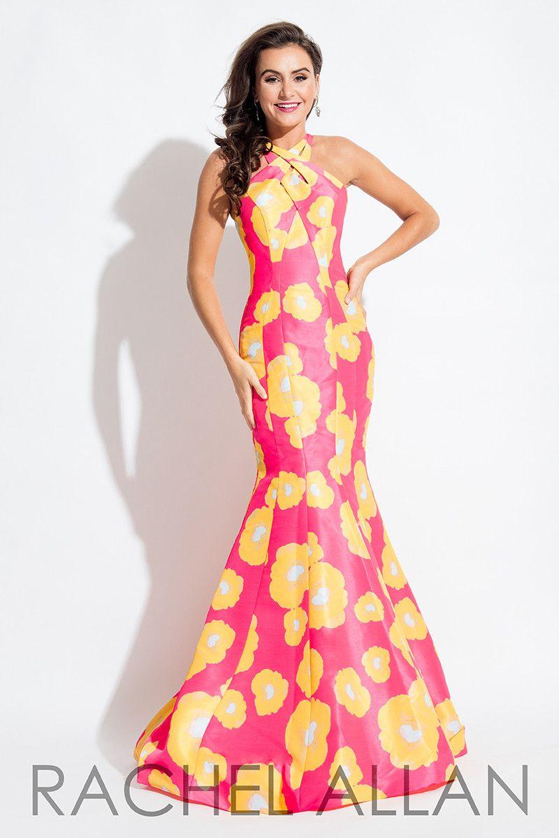 Rachel allan fuchsia yellow print mermaid prom dress products