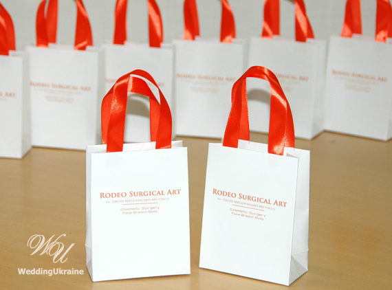 Logo gift Bags with Orange satin ribbon handles - Custom Personalized small Paper Bag for your busin & Logo gift Bags with Orange satin ribbon handles - Custom ...