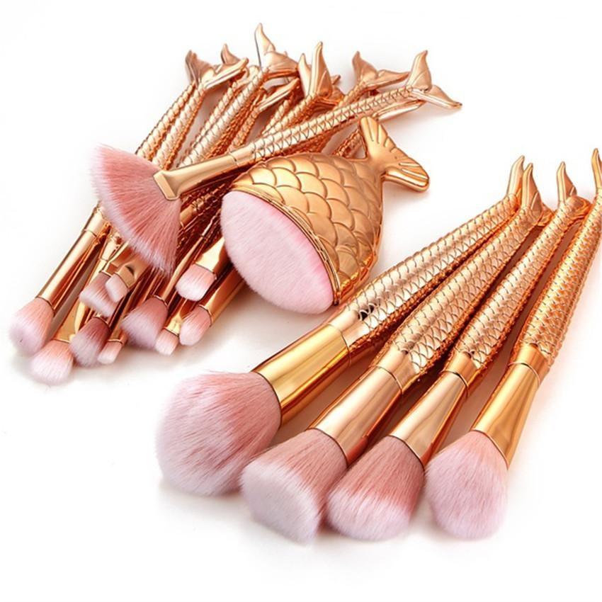 Gold Fashion Mermaid Makeup Brush Set