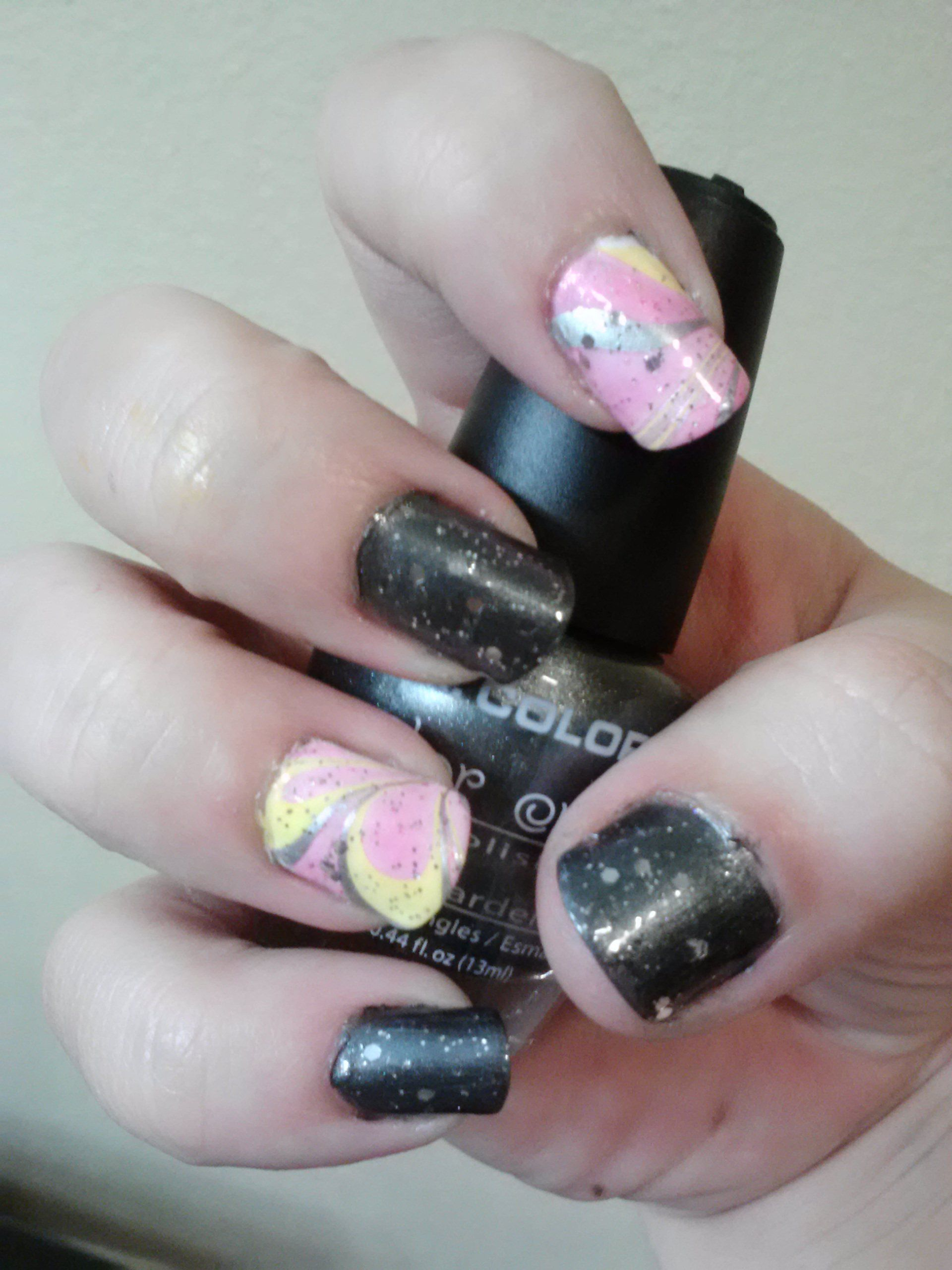 Dark grey & Marble Nails Design. With a clear Glitter top coat. (I ...
