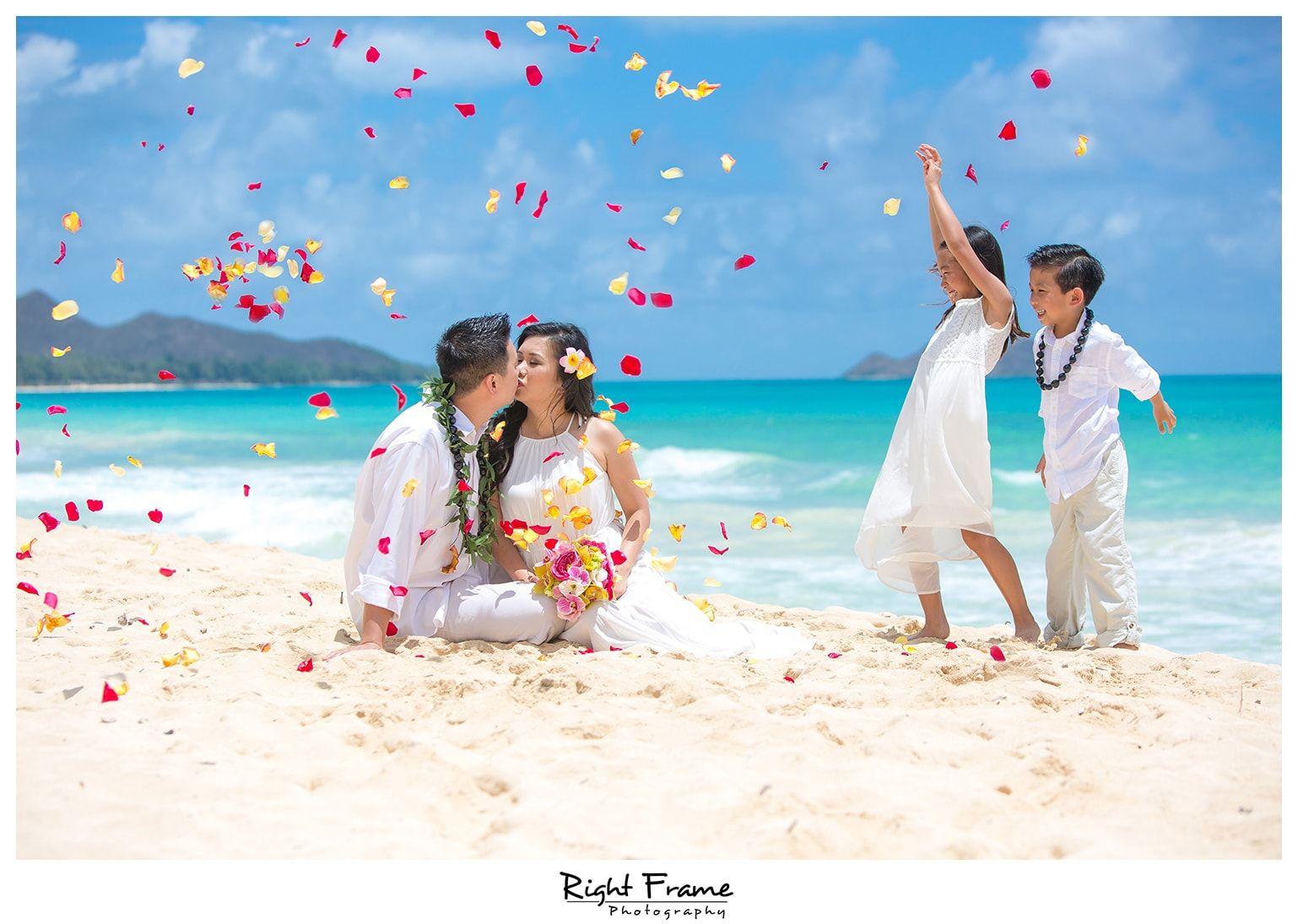 Beach Wedding Ceremony Oahu: Www.rightframephotography.com