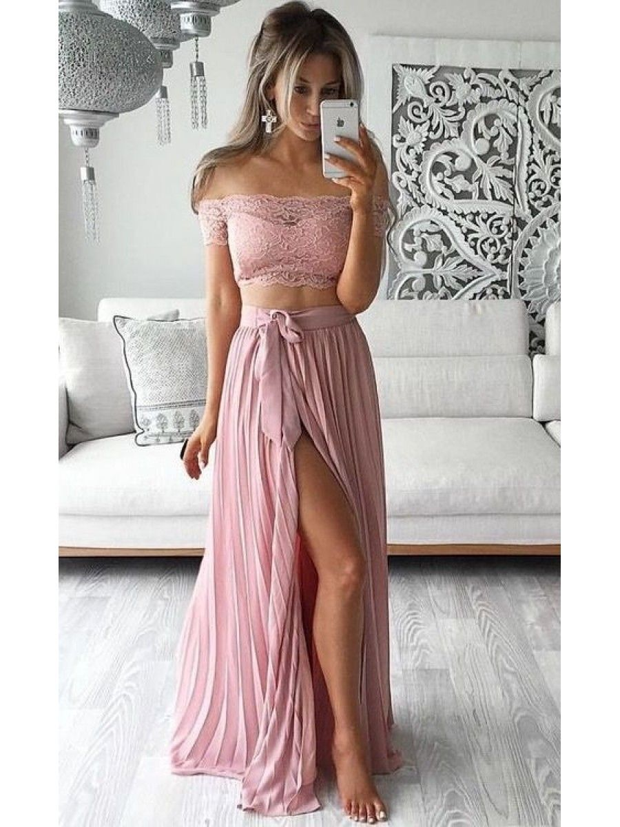 Two piece prom dresses lace top offtheshoulder short sleeves thigh