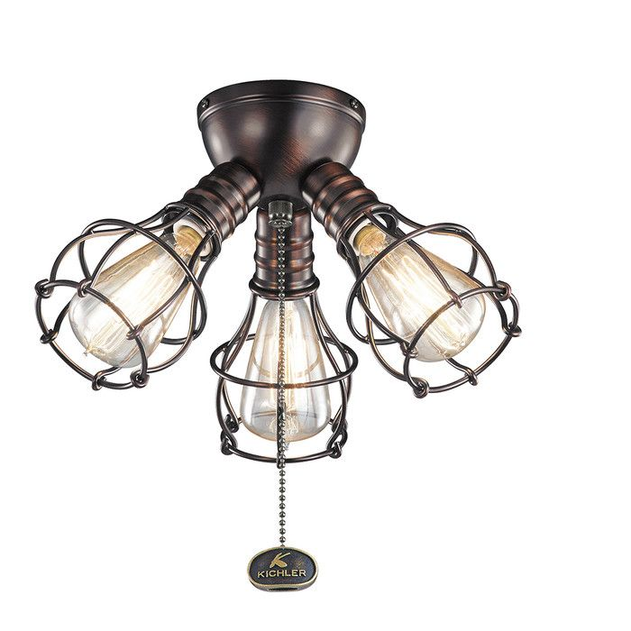 Youll love the industrial 3 light branched ceiling fan light kit at wayfair