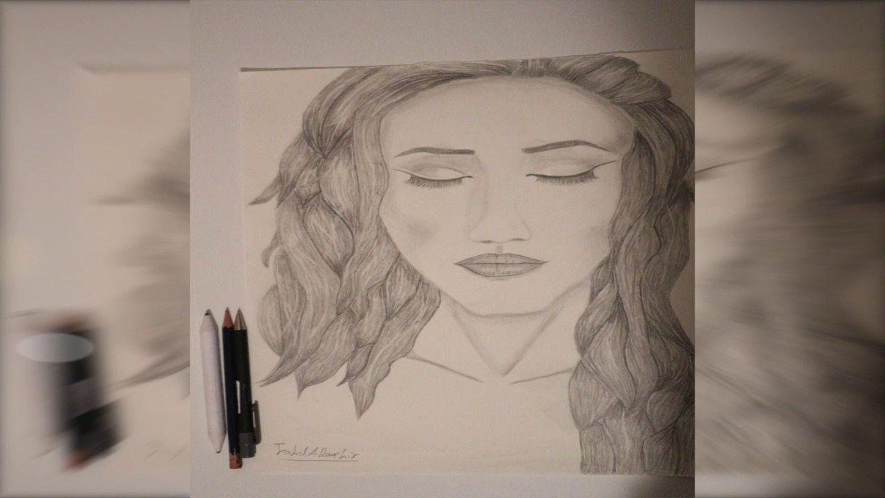 A Woman With Closed Eyes Drawing By Fahd Albashir رسم وجه امرأة Eye Drawing Closed Eyes Male Sketch