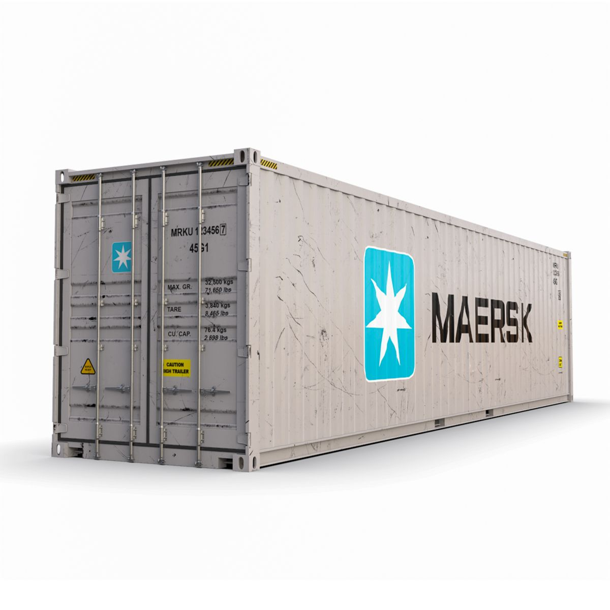 40 Feet High Cube Maersk Shipping Container 3d Model Flatpyramid Shipping Container Cargo Container Container
