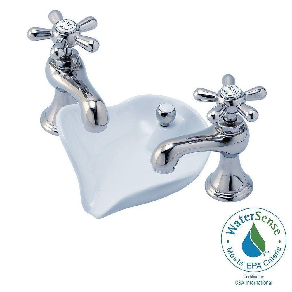 Glacier Bay 6100 Series 8 in. Widespread 2-Handle Low-Arc Bathroom ...