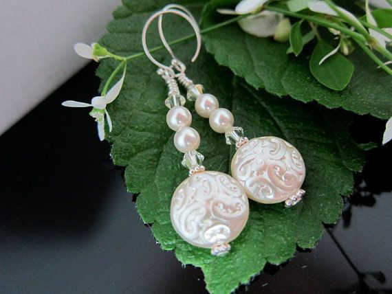 Creamy Ivory Coin Earrings with Swarovski Pearls by IBKcreations, $17.95