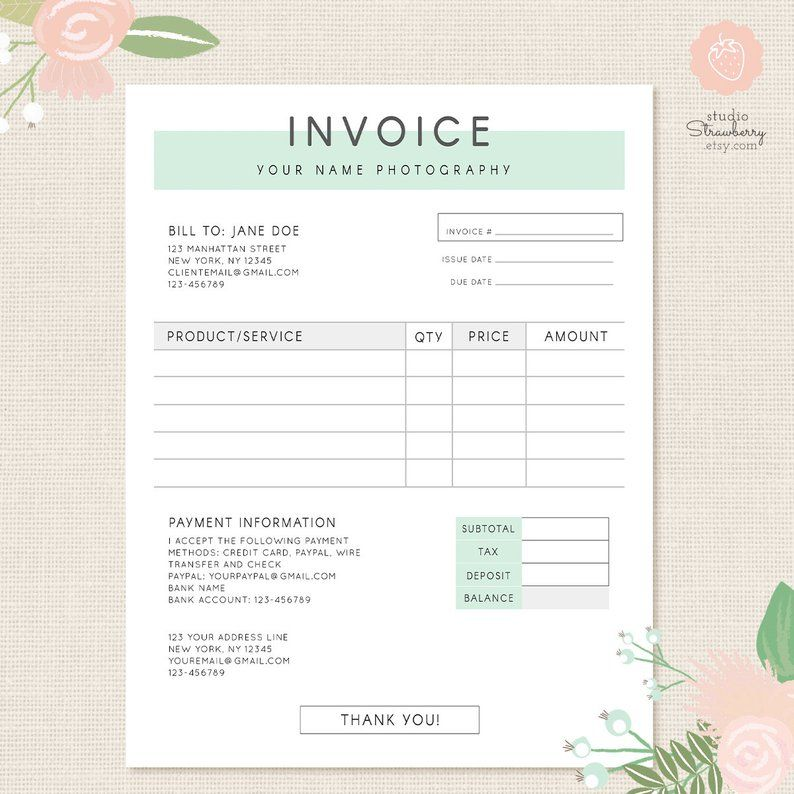 Invoice template, Photography invoice, Business invoice