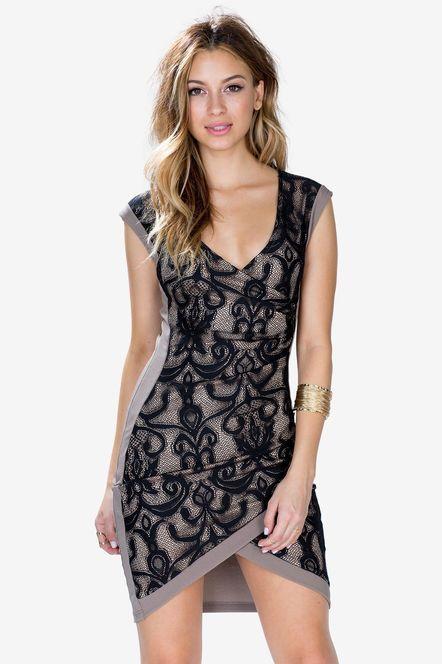 Lace Wrap Around Surplice Dress