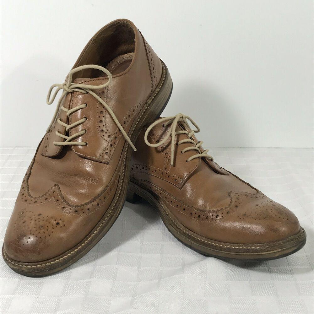 Bass jordan brown leather wing tip oxford mens dress shoe