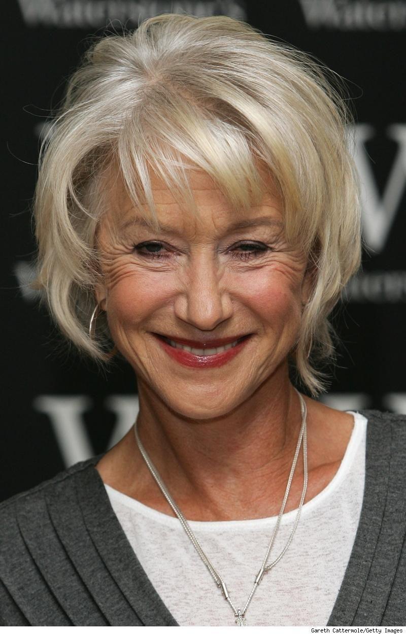 Short Fine Hair Older Women Helen Mirren British Actress