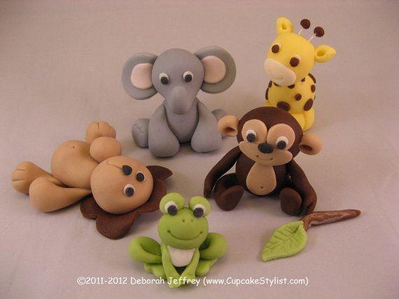 Set of 5 Fondant Baby Safari Animal Cake and by CupcakeStylist