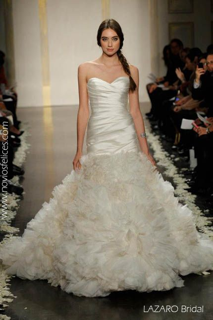 LazaroIvory Silk Mikado Mermaid Bridal Gown With Textured Organza Skirt Sweetheart Neckline Elongated Pleated Bodice Corset Back Tousled