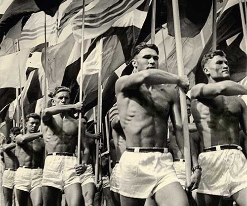 Soviet gym teachers parade in Moscow, 1956 via... - Historical Times