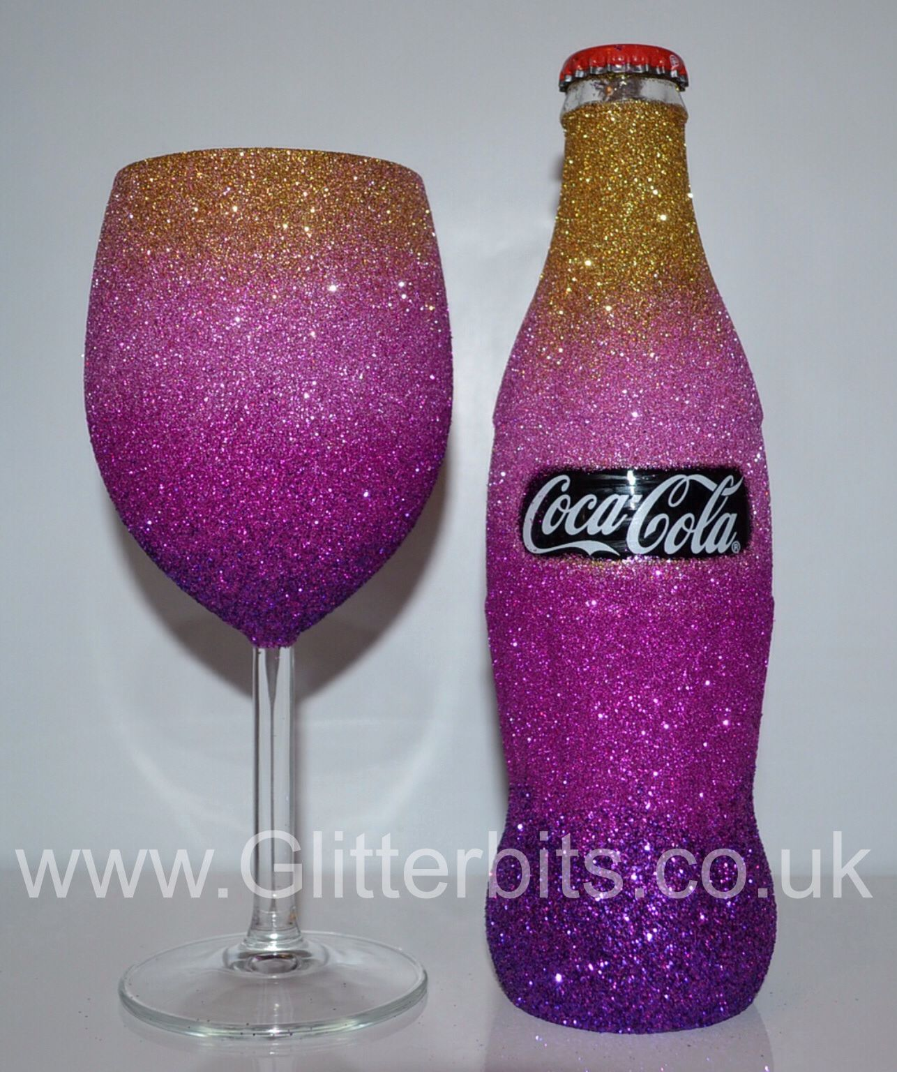 Love this pink coca cola glitter bottle and glitter glass for How to make glitter wine bottles