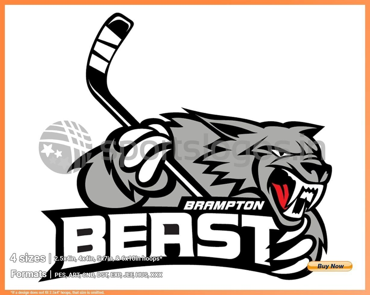Brampton Beast Hockey Sports Embroidery Logo In 4 Sizes Spln000495 Sports Logos Embroidery Vector For Nfl Nba Nhl Mlb Milb And More In 2020 Hockey Logos Brampton Sports Logo