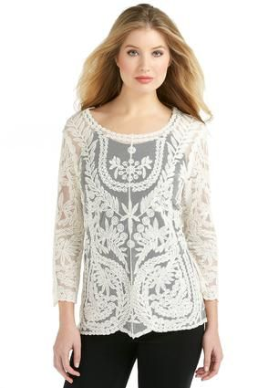9cb2ad9aca4 Cato Fashions Embroidered Lace Top - Plus  CatoFashions