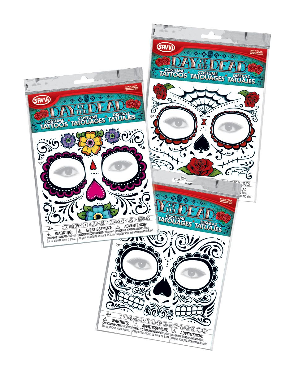 Spirit Halloween Day Of The Dead Sugar Skull Temporary Face Tattoos Halloween Costume Store Spirit Halloween Temporary Face Tattoos