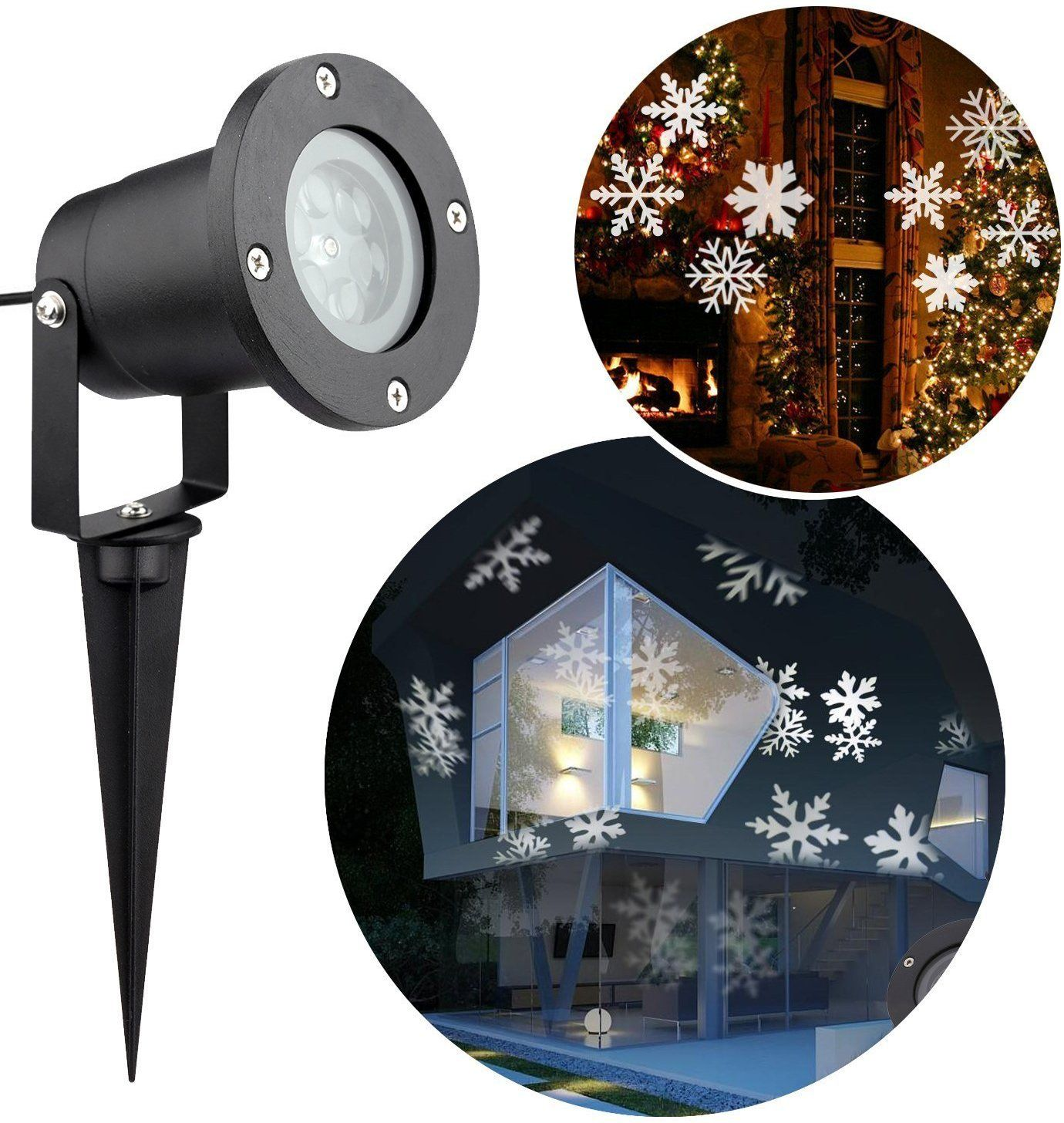 Amazon Com Cm Light Indoor Outdoor Automatically Led Moving Snowflakes Spotlight Lamp Wall Led Christmas Lights Outdoor Led Christmas Lights Christmas Lights