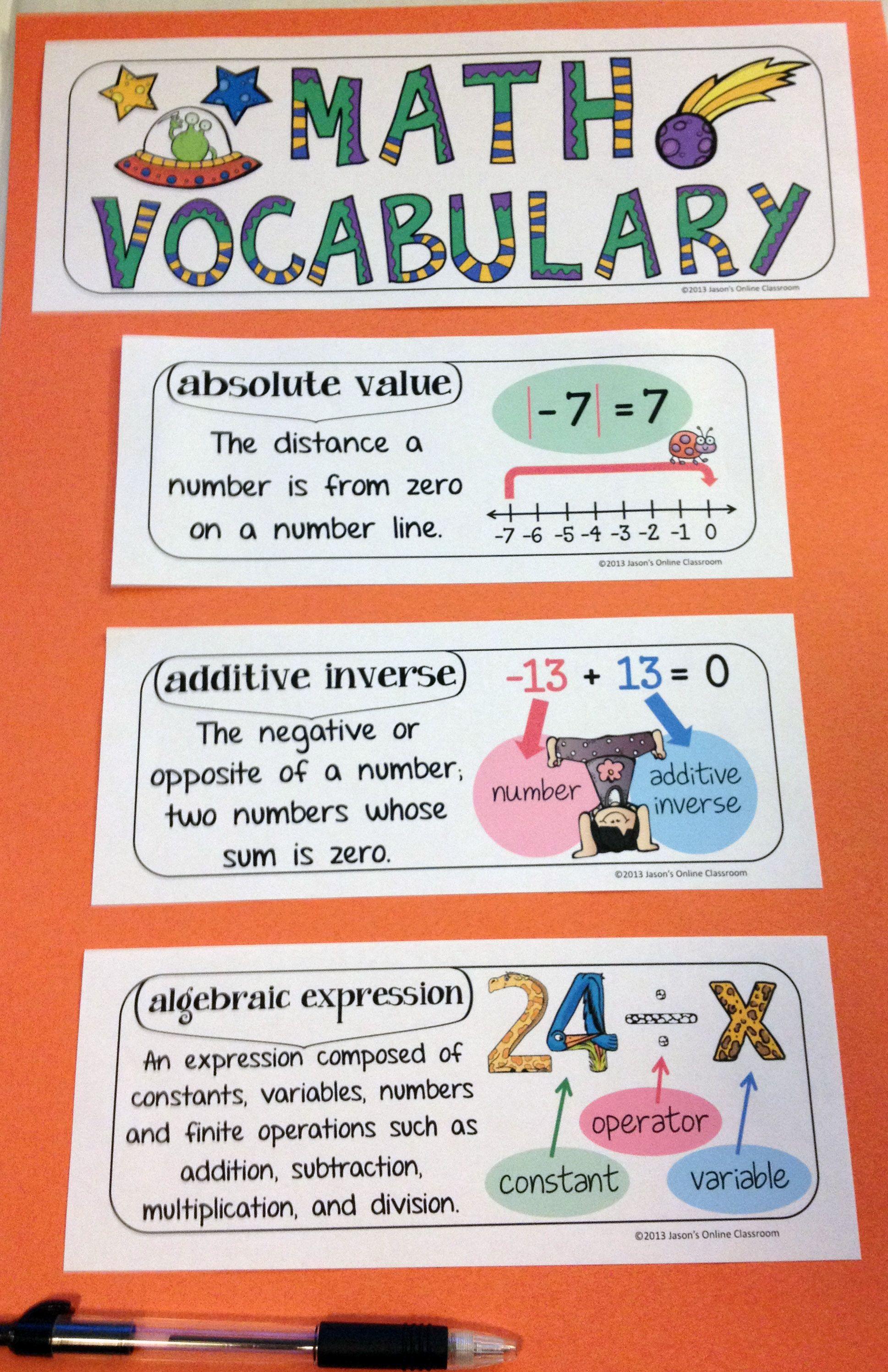Math Word Wall Math Vocabulary Math Interactive Notebook Inserts