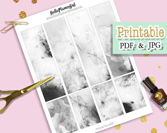 Black White Watercolor Bookmarks Printable Minimalist Bookmark