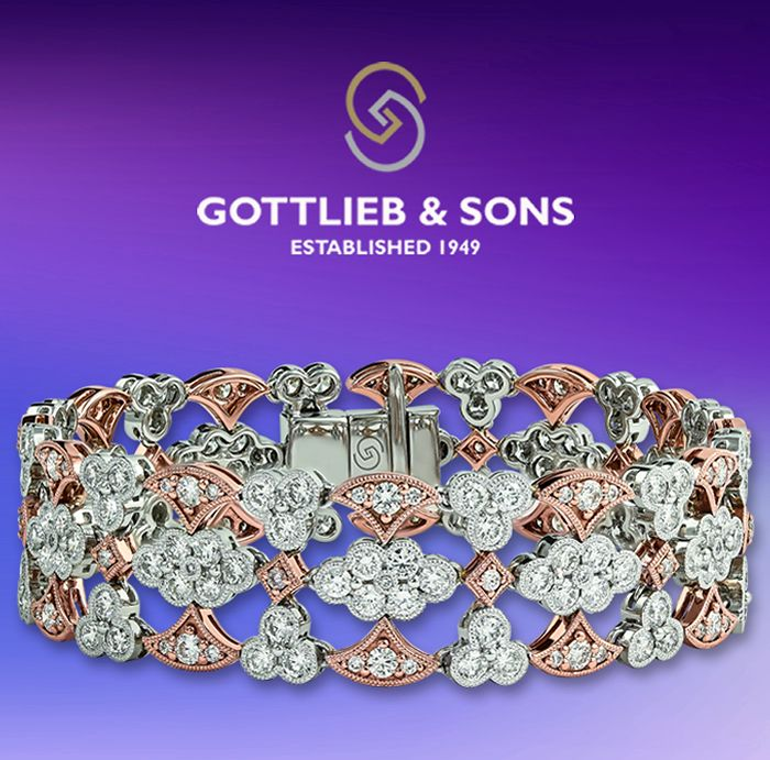 This beautiful bracelet will complement any style. This two tone Pink and White Gold Diamond #bracelet features vintage inspired floral design for a truly unique look. Visit your local #GottliebandSons retailer and ask for style number 29596B.http://www.gottlieb-sons.com/product/detail/29596B