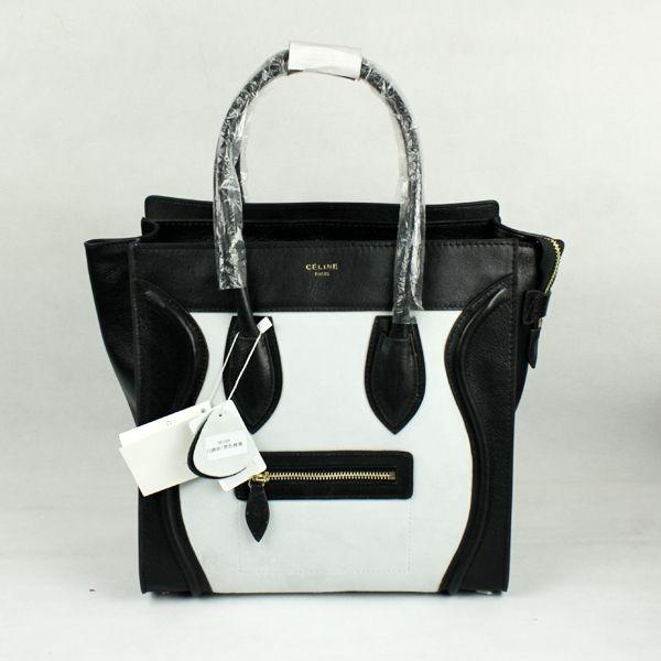 Celine Bags Boston Smile Leather Black White