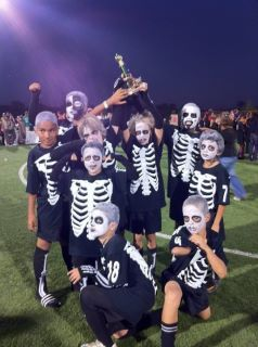 I Was In Charge Of Team Costumes For The Boo Fest Soccer Tournament This Is What I Came Up W Team Halloween Costumes Zombie Costume School Halloween Costumes