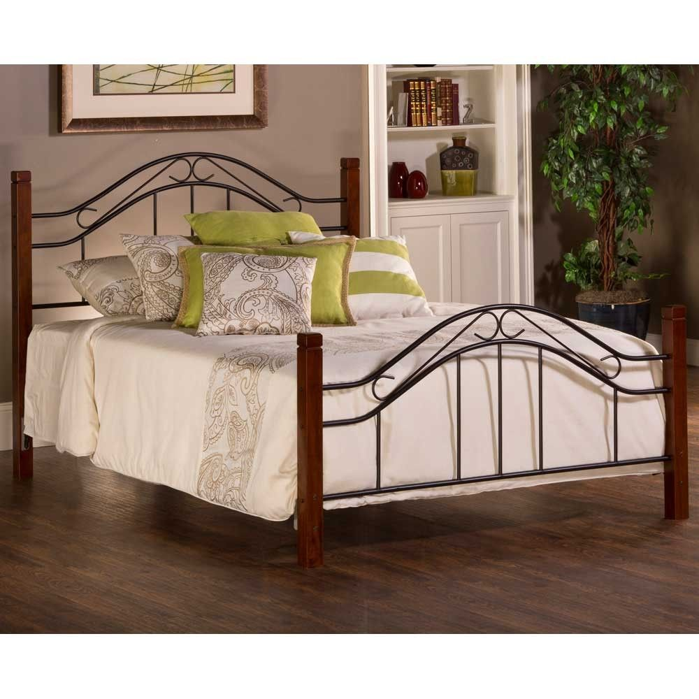Matson Mixed Wood & Iron Bed in Cherry Black Full