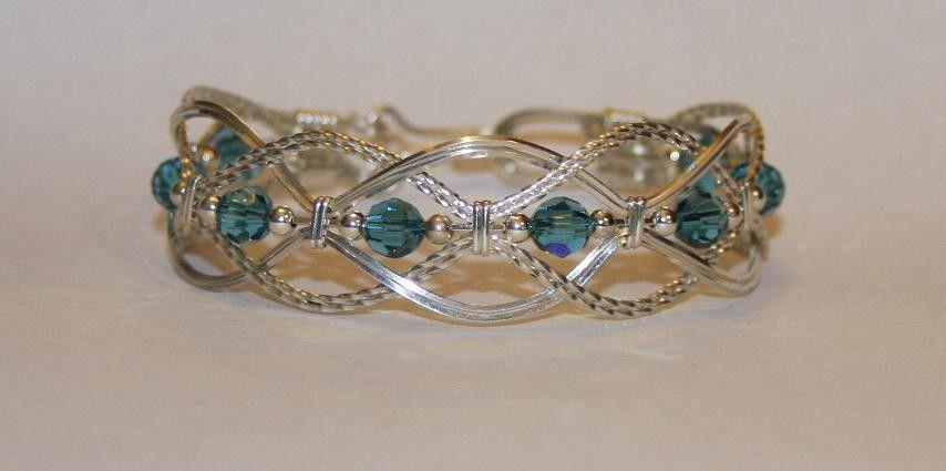 Wire wrapped Braided Bangle Bracelet with Swarovski Crystal