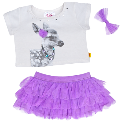 Justice Deer Tee Skirt Outfit 3 Pc Build A Bear Workshop Us Build A Bear Outfits Bear Outfits Skirt Outfits