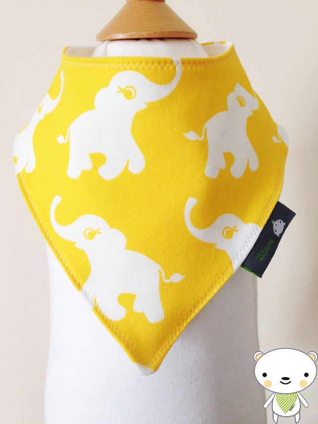 Handmade BELLAOSKI Baby Bandana Dribble Bib in Scandinavian Swedish Znok Elephant fabric  IDEAL GIFT £5.00