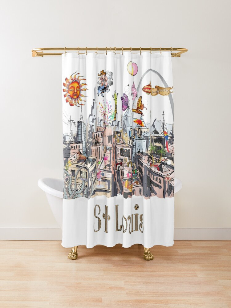 Saint Louis Crazy City Life Pop Art Shower Curtain Pop Art