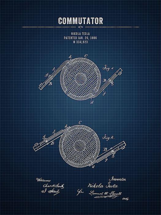 1886 Nikola Tesla Commutator - Dark Blueprint # ...