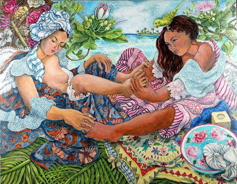 Two girls , foot massage by the lagoon   Artistas, Arte