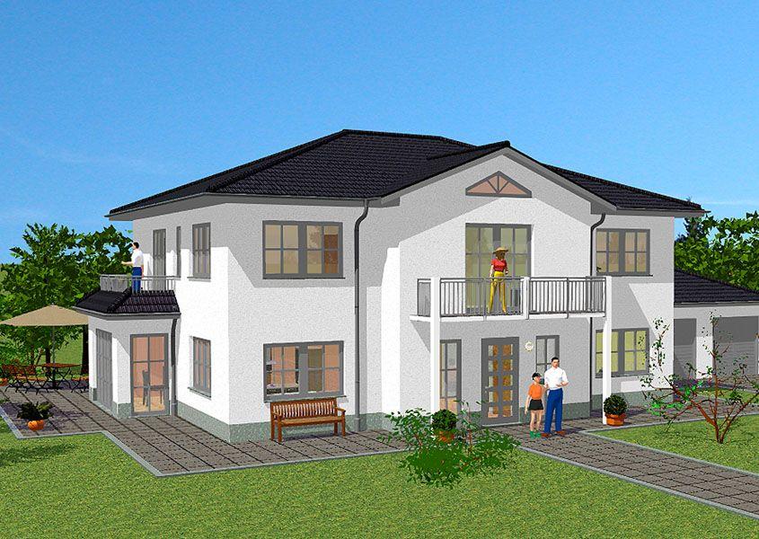 stadtvilla vorderansicht stilvoll mit garage und balkon dreamhouse pinterest stadtvilla. Black Bedroom Furniture Sets. Home Design Ideas