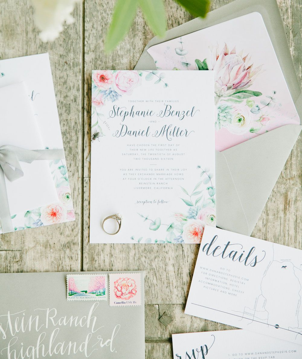 floral invitation with hand-lettering