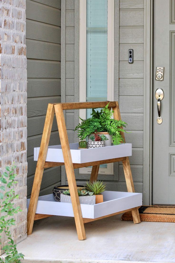Modern AFrame Plant Stand is part of Framed plants, Diy plant stand, Plant stand, Diy plants, Outdoor entryway, Decor -  Modernize your outdoor entryway with this fun AFrame plant stand  With the summer still going, I figured I would make a quick fun project for the outdoors  I am in love with all things modern these days, so I thought why not create a fun AFrame plant stand   This post is sponsored by The Home Depot   There are some