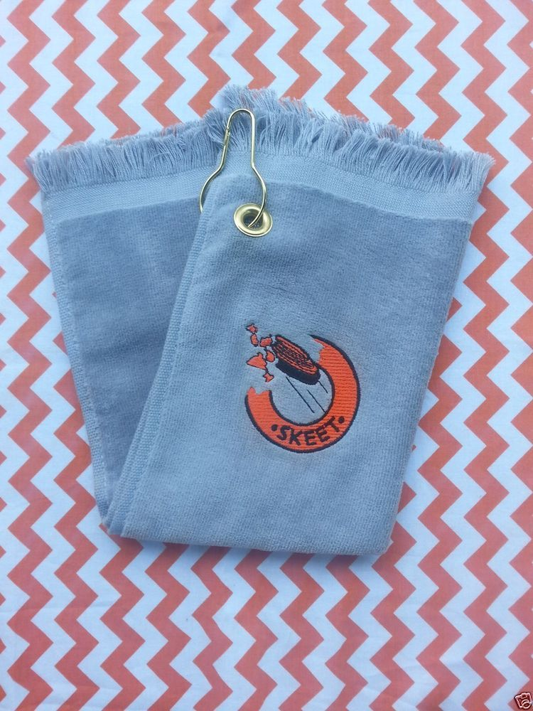 Skeet Trap Sporting Clays Shooting Towel Gray Orange Clay