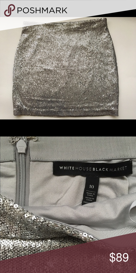 f02c85ba5c44 pencil skirt White House Silver Sequins Brand new Silver Sequins pencil mini  skirt White House Black Market label size 10 . Measurements: Waste 32 in ...