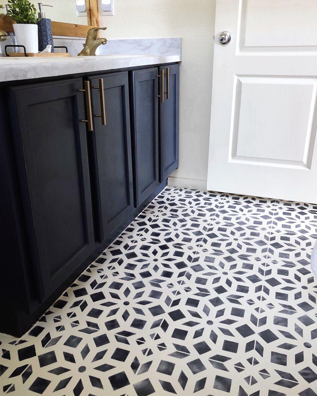 Bathroom Makeover Part 19--Chalk Painted Linoleum Floors