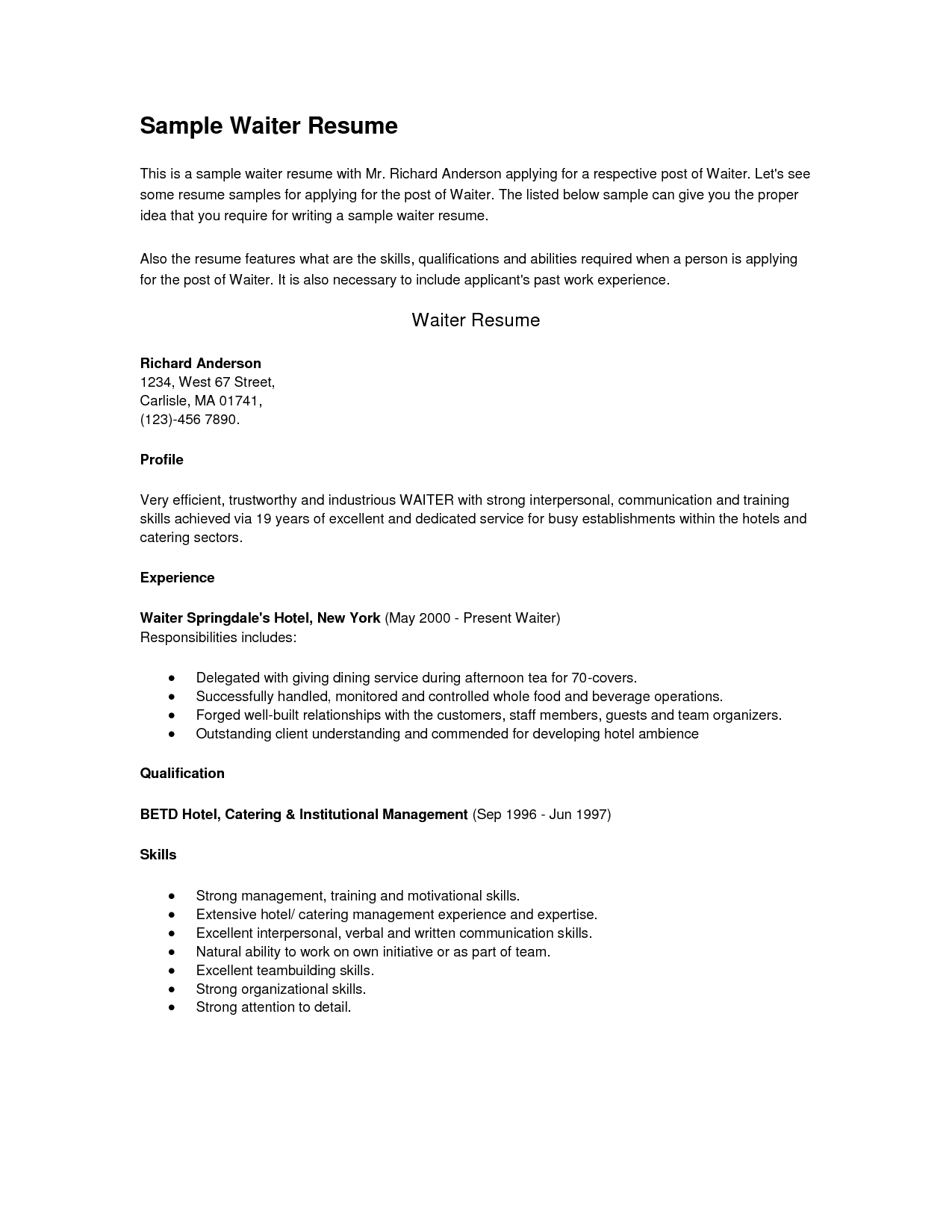 Resume Examples Waiter Template Cashier Cover Letter Chef Sample