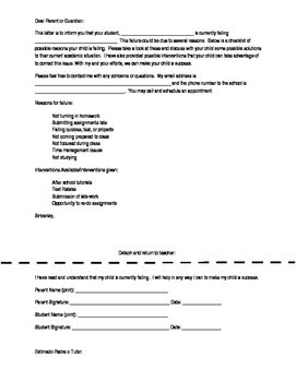 Parent Letter For Failing Student In English And Spanish Letter To Parents Lettering Parenting