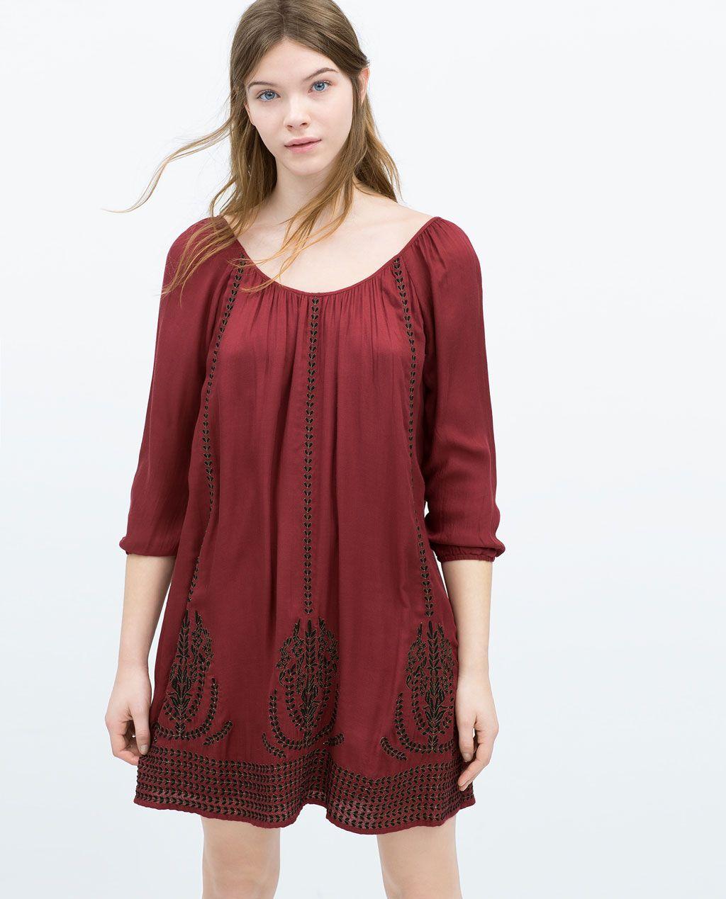 Zara mujer vestido bordado uac moda fashion style
