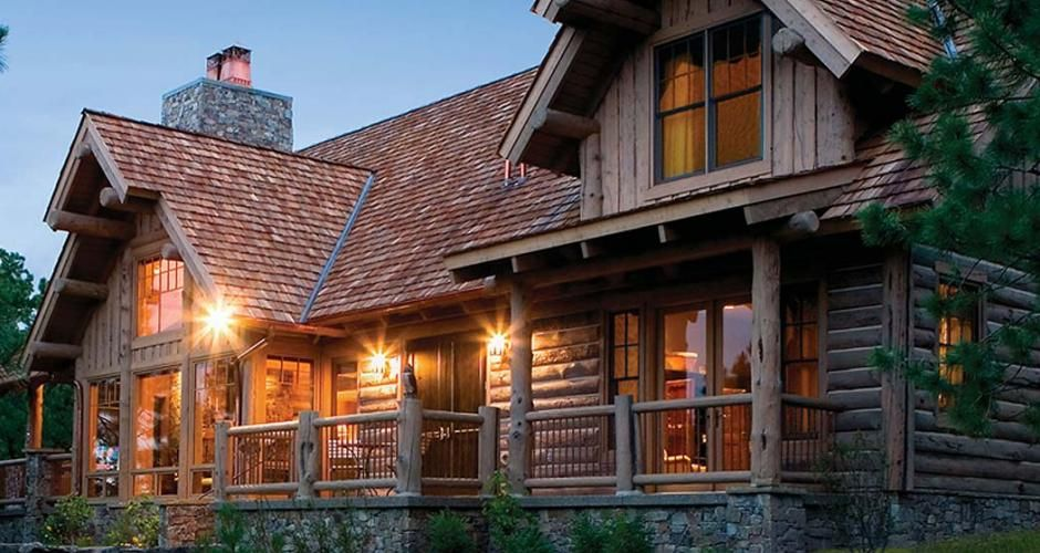 The Steed Family Home From Rocky Mountain Log Homes A Beautiful Montana Mountain Conventional Frame With Log Fa Timber Frame Homes Log Home Living Log Homes